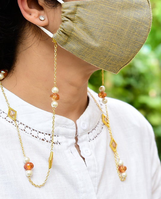 FUSION Necklace/Mask/Eyeglass chain with Amber Melon Beads & Pearls