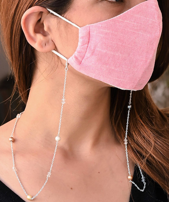 HEERA MOTI Multi-Pearl  SILVER Necklace/Mask Chain/Eyeglass Chain