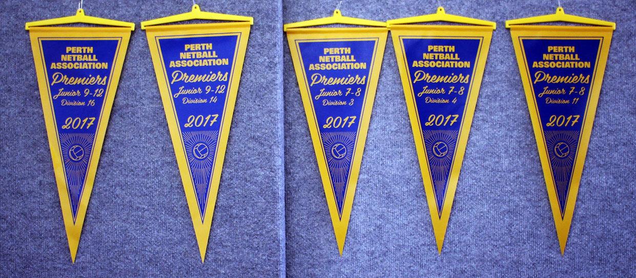 West Coasters Netball Club Premiership flags