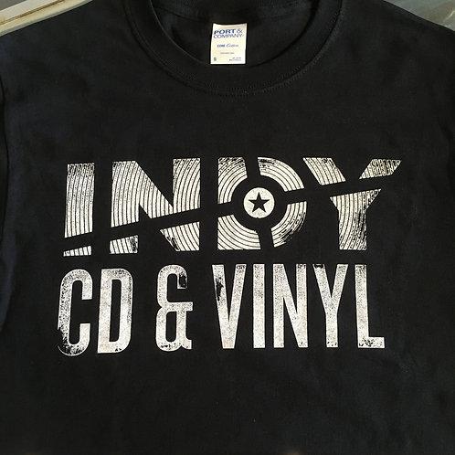 Indy CD & Vinyl block logo shirt