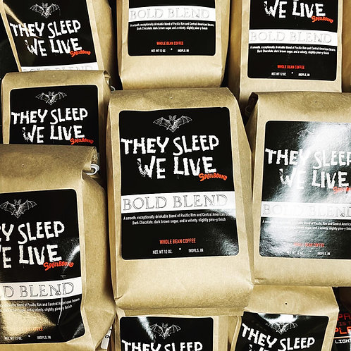 "Coffee: ""They Sleep, We Live"" Spellbound Bold Blend whole bean"