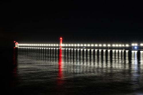 Night Reflections at Grand HavenPier