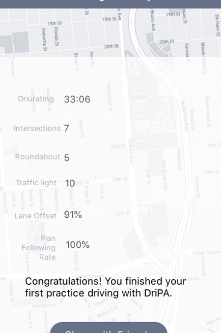 Report of my practice driving