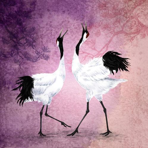 Fine Art  Dansende Kraan vogels illustratie (myrte)