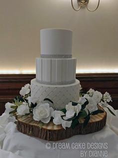 'ADELE' ~ Classic white on white 3 tier wedding cake with diamante trim
