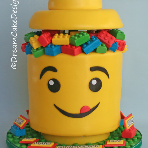 LEGO HEAD STORAGE BUCKET CAKE
