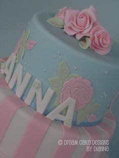 'ANNA' ~ ROSES CHRISTENING CAKE