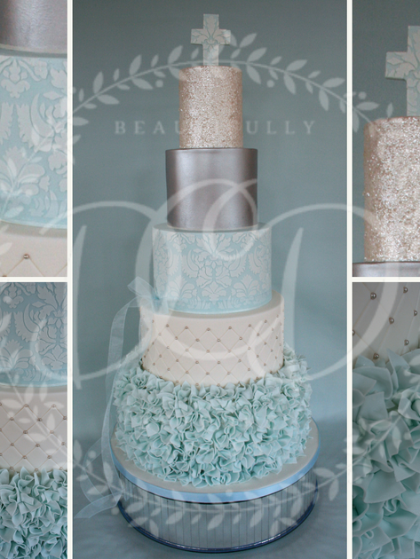 'EDEN JACOB' ~ STUNNING 5 TIER CHRISTENING CAKE WITH RUFFLES