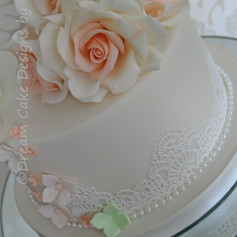 'PEACH ROSES' ~ LADIES BIRTHDAY CAKE