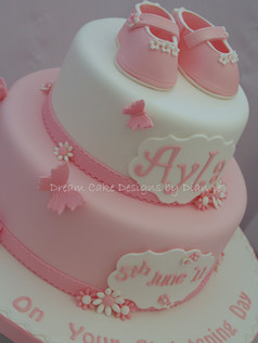 'AYLA' ~ Christening cake with pretty Mary Janes