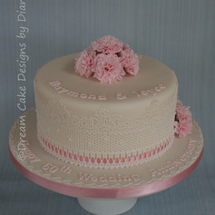 60th WEDDING ANNIVERSARY ~ pretty cake with pink carnations and edible lace
