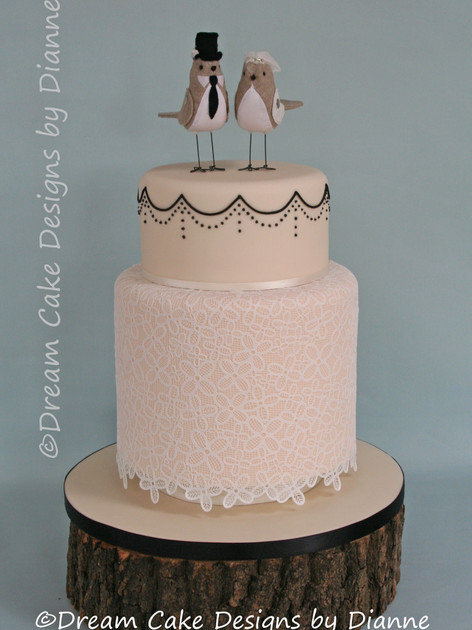 'AIMEE' ~ Beautiful 2 tier cake with double barreled base tier decorated in edible lace