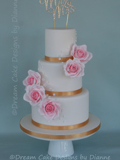 'Becky' ~ Beautiful 3 tier cake with pretty pink roses and blossoms