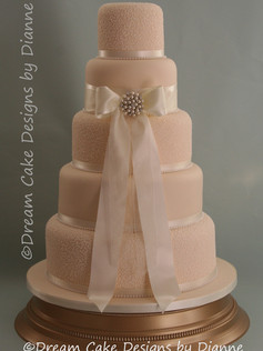 'GILL' ~ 5 tier classic ivory design with satin bow and brooch detailing