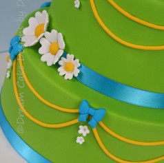 'DARCIE' ~ BRIGHT GREEN TINKERBELL THEMED CAKE WITH SPARKLY SHOE TOPPER