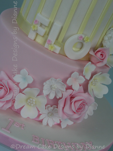 'FLO' ~ Snuggle Bunny  2 tier cake with pretty floral and striped design