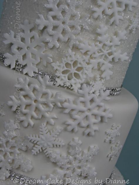 'HEATHER' ~ stunning 4 tier white on white sparkling textured effect wedding cake with snowflakes