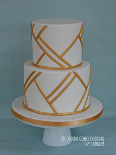 'HANNAH' ~ Stunning hand painted gold geometric design