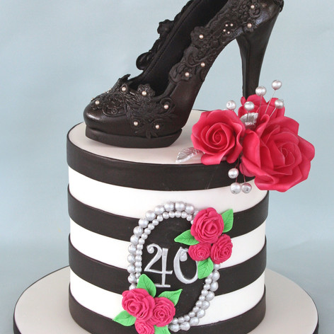 'KERRY' ~ TALL BLACK & WHITE STRIPED CAKE & DESIGNER STILETTO SHOE