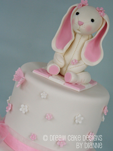 'CHARLOTTE' ~ Snuggle Bunny 2 tier cake with a pretty scattered blossom design