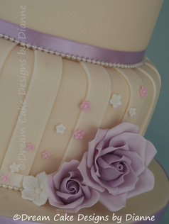 'AMY' ~ Stunning 4 tier cake with lavender roses and pretty scattered blossoms