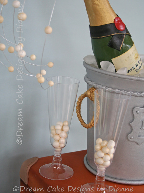 'CHELSEA' ~ realistic champagne bucket with cork popping champagne bottle