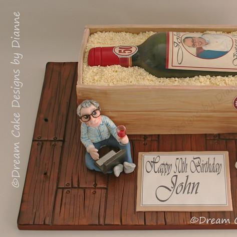 'JOHN' ~ RED WINE BOTTLE & CRATE