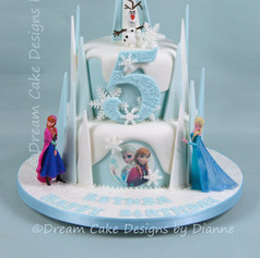 'ESTHER' ~ FROZEN THEMED CAKE with ANNA, ELSA & OLAF FIGURINES