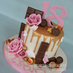 'EBONY' ~ 18th birthday gold drip & roses with favourite chocolates
