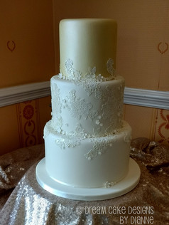 'GEMMA' ~ pretty 3 tier ivory lustre & lace design inspired by the brides gown