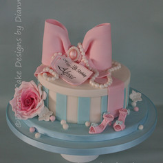 'ALYSSA' ~ striped hatbox style birthday cake with large bow and rose
