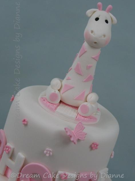 'PHOEBE' ~ giraffe and blossoms christening cake