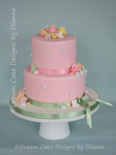'DAISY ALICE' ~  CHRISTENING CAKE with a pretty pastel floral design