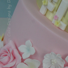 'FLO' ~ 2 TIER CAKE WITH 'SNUGGLE BUNNY' TOPPER & A PRETTY FLORAL CASCADE