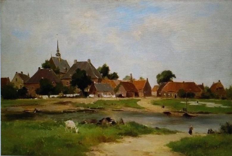 dorp Broekhuizen circa 1900 geschilderd.