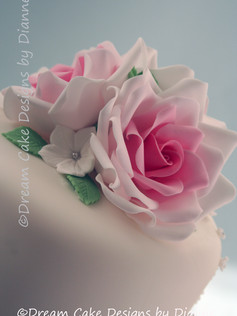 'INGA' ~  Beautiful 3 tier white wedding cake with pink sugar roses, rose dome topper and blossoms