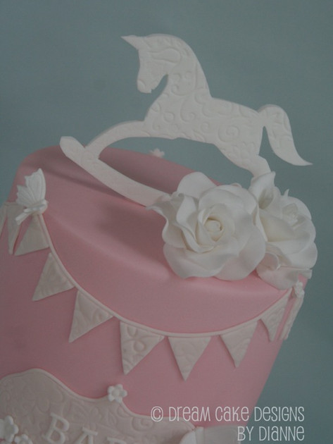 BABY SHOWER ~ pretty double barrelled ( 2 tier ) rocking horse cake with bunting