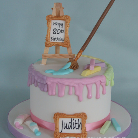 'JUDITH' ~ 80th birthday Artist themed birthday drip cake