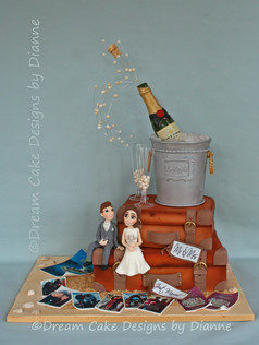 'CHELSEA' ~ unique travel themed wedding cake