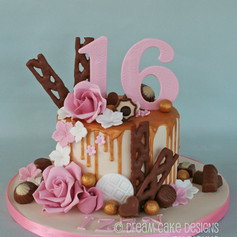 'IZZY' ~ 16th birthday gold drip & roses with favourite chocolates