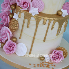 'TRACEY'~ Stunning 2 tier 50th birthday cake with gold drip and pink roses
