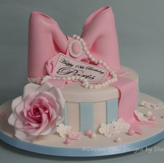 'PARIS' ~ striped hatbox design birthday cake with large pink bow and rose
