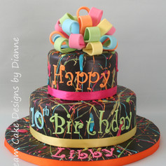 'LIBBY' ~ BRIGHTLY COLOUREDSPLATTER CAKE WITH LOOPY BOW