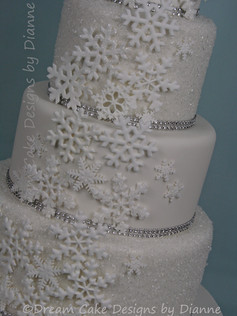 'HEATHER' ~ stunning 4 tier white on white sparkling textured effect wedding cake with snowflakes
