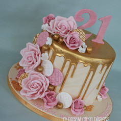 'CHARLOTTE' ~ 21st birthday gold drip & roses