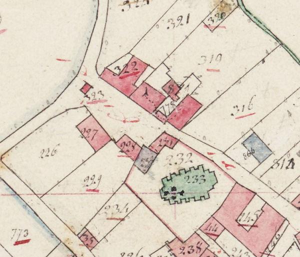 Kaart Broekhuizenvorst 1821 - kerkplein.
