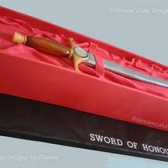 'SWORD OF HONOUR' ~ TEVA UK LTD  CORPORATE CAKE celebrating a prestigious award for health and safety.