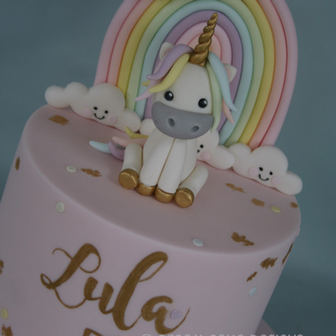 'LULA' ~ PRETTY PASTEL COLOURED RAINBOW & UNICORN CAKE WITH HAND PAINTED GOLD DETAILING
