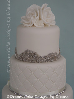 'KATIE' ~ 3 tiers of white iced cake with a contemporary twist