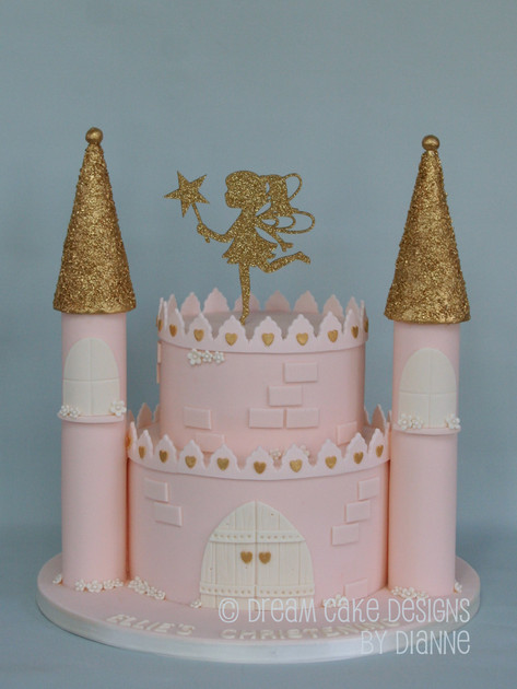 'ELLIE' ~ CHRISTENING CAKE .. Castle with gold glitter fairy and gold accents